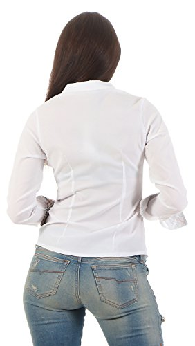 11247 Fashion4Young Damen Langarm Businessbluse Bluse Hemd Business Hemdbluse elastischem Stretch Weiß