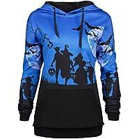 Geili Damen Sweatshirt,Frauen Halloween Moon Bat Print Kordelzug Fronttasche mit Kapuze Sweatshirt Damen Herbst... preisvergleich bei billige-tabletten.eu