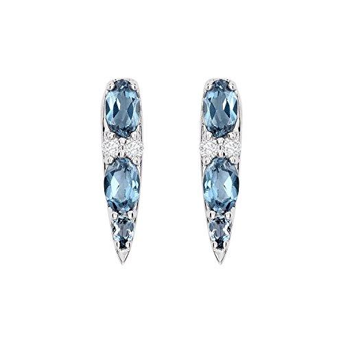Nikos Koulis Donna  18 carati  oro bianco Ovale   blu Topazio Diamante