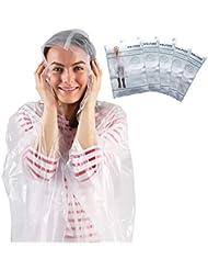 Poncho Pluie - Paquet de 5 Ponchos - Poncho Impermeable - Transparent - Adulte - Poncho Femme et Homme - Parfait pour les Festivals de Camping et les Randonnées - Par Wolf Den
