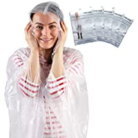 Disposable Rain Poncho - Adult - Transparent - Pack of 5 Emergency Ponchos - Waterproof Pac a Mac with Hoods - Perfect for Camping Festivals and Hiking - by Stockhome London