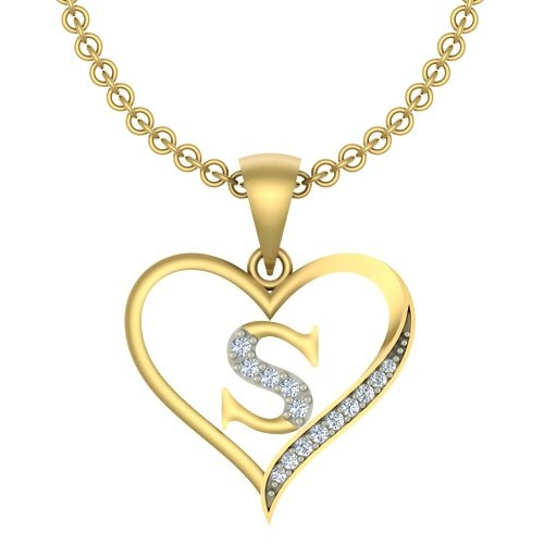 "Kanak Jewels Initial Letter ""S"" In Heart Shaped With Chain Gold Plated Cubic Zirconia Brass Pendant For Everyone"
