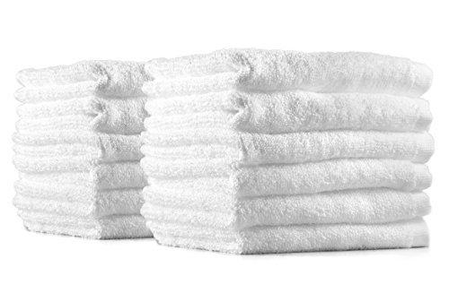 Frottee Gesicht Handtuch Seiftuch Seiflappen 12-er Pack Gästetücher Set 12 Handtücher 30x30 cm 100% Baumwolle weiß