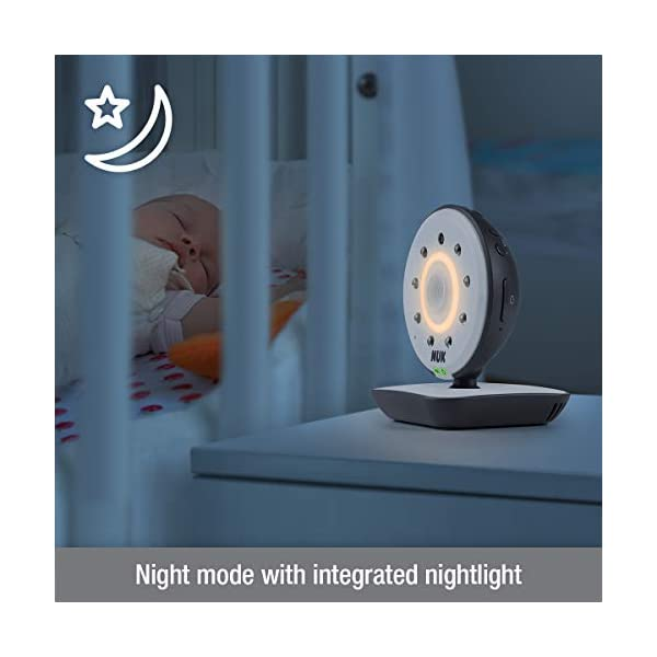 NUK 550VD Video Baby Monitor with LCD Screen, Night Vision, Temp. Sensor, 2-Way Talk & Lullabies NUK 100% free from high frequency radiation in baby's room in eco-mode 2in1: can be used for video/audio or only audio surveillance Integrated camera with night vision and zoom 4