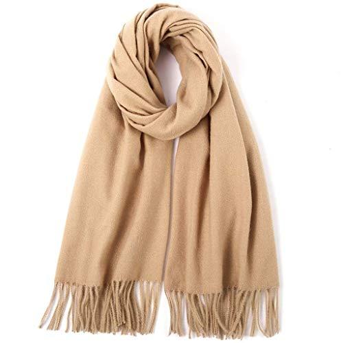 SUFLANG Frauen-Schal-Schal-Maxi-Solid Color weiches Tuch Winter Herbst Warmer Schal extralange Damen Tücher Wrap 210x80CM (Color : Camel) -