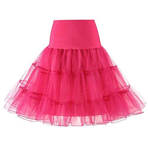 MRULIC Damen Petticoat Unterrock Petticoat Underskirt für Rockabilly Kleid Organza Vintage Rockabilly Kurz Reifrock Unterrock Tutu für Karneval Party Kleid Für Fasching(B-Pink,S/Waist:60-100cm)