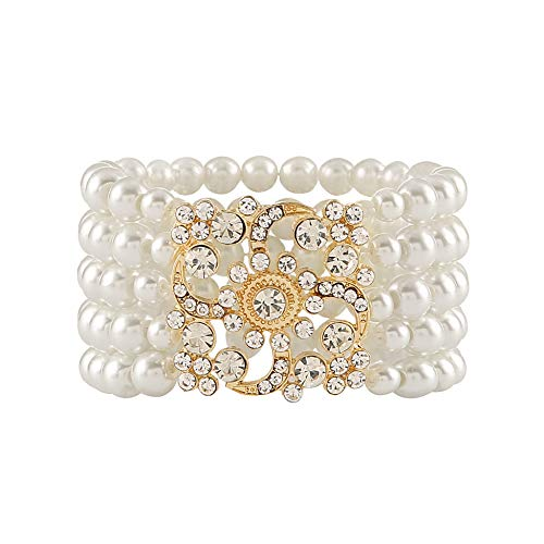 Metme 1920er Jahre Flapper Armband Stretch Armreif Simulierte Perle Kristall Armband Great Gatsby Jewelry Zubehör -