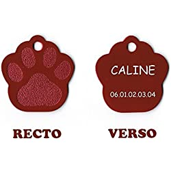 Medaille gravee Chien Chat - modele Petite Patte de Chat calinette - Rouge