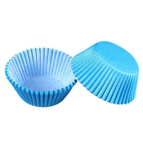 Sunnymi 100 Stück Cup Cupcake Wrapper DIY Kuchen Liner Muffin Fall Mooncake Papier Box Backblech Küche Backformen Gebäck Hochzeit Dekor Backform Werkzeuge (Blau)