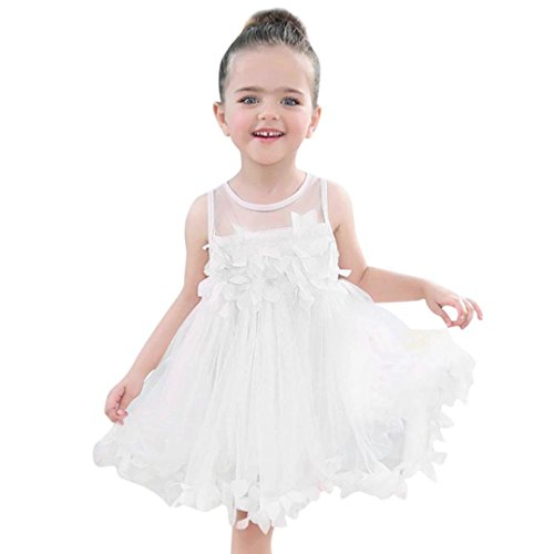 JERFER Mädchen Kleinkind Chiffon Kleider Sleeveless Drape Dress + Brosche (Weiß, 24M)