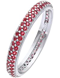 Citerna Rhodium Plated Silver Double Row Red Cubic Zirconia Full Eternity Ring