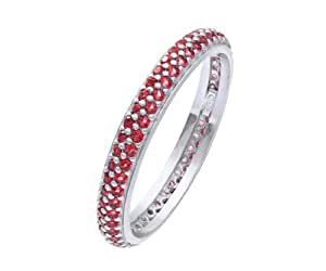 Citerna Rhodium Plated Silver Double Row Red Cubic Zirconia Full Eternity Ring- Size J