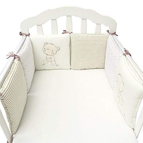 Cuscini paracolpi per lettino traspiranti in cotone per culle standard Set materassino imbottito per lettino imbottito per paracolpi per bebè, imbottitura per culla, combinazione libera 6 pezzi (1)