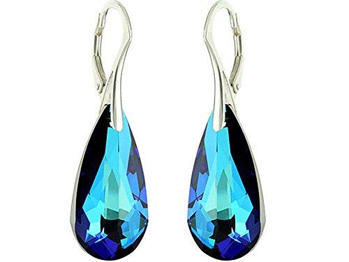 Crystals & Stones *TROPFEN* 24 mm *Viele Farben* Ohrringe Damen Ohrhänger mit Kristallen von Swarovski Elements BA/2 (Bermuda Blue)