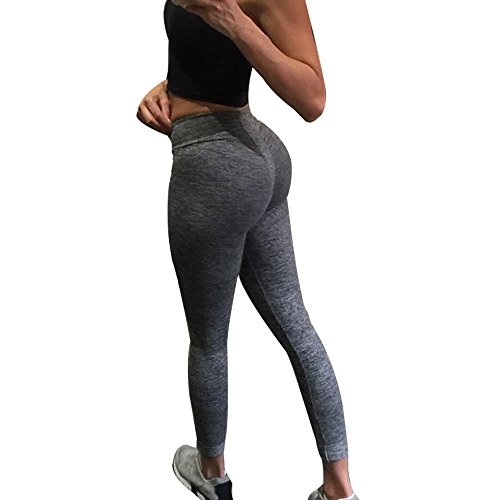 Ularma Damen Fitnesshose Übung Stretch Leggings Hüfte Push-Up Skinny Hose (M, Dunkelgrau)