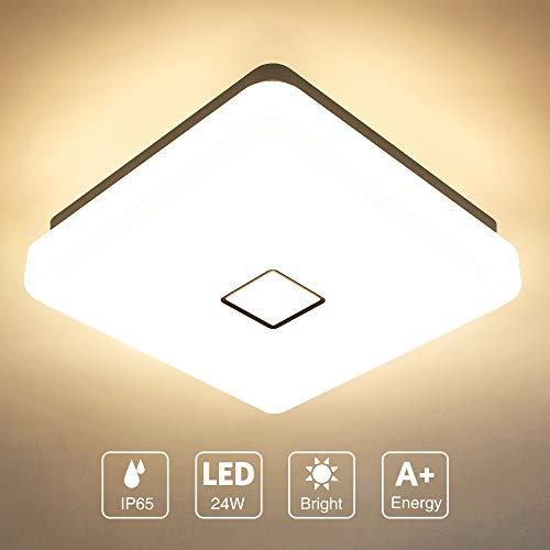Onforu 24W LED Lámpara de Techo Cocina, CRI 90+ IP65 Impermeable 2100LM LED Plafón Cuadrado para Salón Dormitorio Baño Aseo Habitación Terraza Comedor, Igual al 220W, 2700K Blanco Cálido Moderna