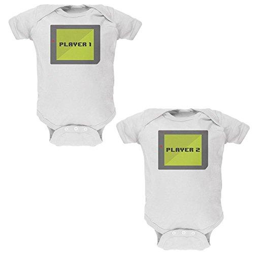 ler 1 und 2 Kostüm weiche Zwillinge Baby One Piece weiß 0-3 M (Twin-kostüme)