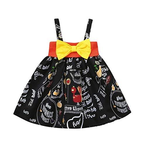 (Babykleidung,Sannysis Infant Kleinkind Baby Mädchen Kürbis Bogen Party Kleid Halloween Kleidung Kleider (90, Schwarz))