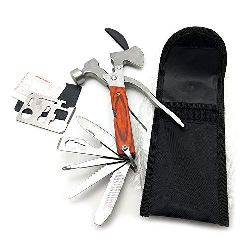 Portable hammer tool 26in 1utensili multifunzione in acciaio inox, assi e accetta, ago naso pinza, tasca cacciavite, martello, coltello, apribottiglie, sopravvivenza campeggio coltello, sega a mano, safety car hammer