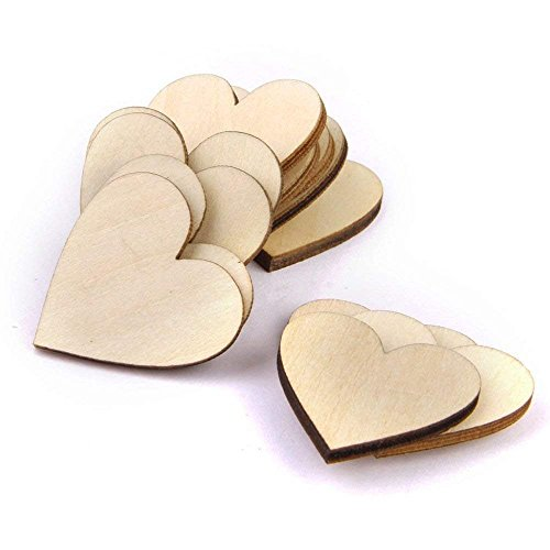 Trimming Shop Plain Heart Wooden Embellishments for Crafting 4cm Blank Slices for DIY Arts Craft Making, Home Decor, Wedding, Birthday, Christmas, Scrapbook Decoration, Pack of 100