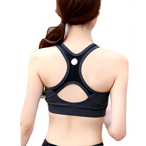 DELEY Femmes Confort Respirant Antichoc Soutien-Gorge Vest Rembourré Bandeau Antichoc Gym Brassière Sans Cross Back Running Yoga Sport Bra Noir 3