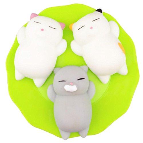 zycShang La diversión curativa lisa de la diversión del gato de 3pcs Mochi Squishy embroma el relevo de la tensión del juguete de Kawaii