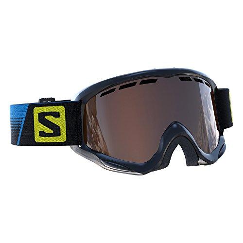Salomon, maschera da sci per bambini (6-12 anni), per portatori di occhiali, tempo soleggiato, visiera arancione (intercambiabile), sistema airflow, juke racing, nero, l39136400
