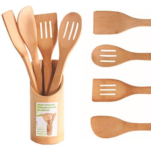 Lote de 5 utensilios de cocina de madera de bambú (cucharas y espátulas)