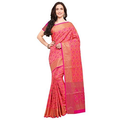 Janasya Women's Light Pink Silk Patola Saree With Unstitched Blouse (SR034-10545-LIGHT-PINK)