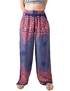 Lofbaz Mujer Pantalones Palazzo con Diseño Impreso