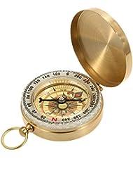 Lixada Compass à Gousset Sports de plein air Camping Randonnée Laiton en laiton portable Golden Fluorescence Multifonctionnelle Compas Navigation