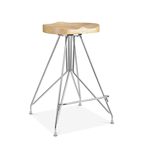 Cult Design Tabouret de Bar en Métal Moda CD1, Assise en Bois Frêne, Chrome 66cm