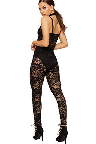 WEARALL Femmes Lacets Dentelle Combinaison Dames Sans Manches Plein Longueur Pantalon Étendue - 36-42 Noir