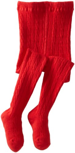 Jefferies Socks Little Girls' Cable Tight, Red, 2-4 Years