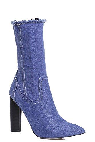 Mulheres Denim Ankle Boots Vanessa Com Eixo Estendido E Bordas Do Corte Não-alinhados