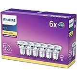 Philips Lot de 6 Ampoules LED Spot Culot GU10, 4,6W équivalent 50W, Blanc Chaud 2700K, Finition Verre