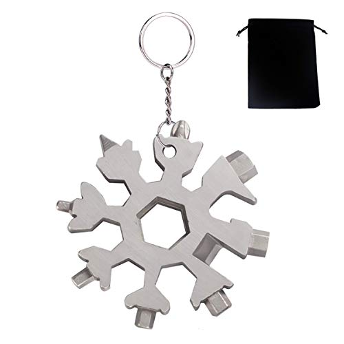 Lukiny Unisex-Adult GYGYNMI Edelstahl Fahrrad Multifunktionswerkzeug, 18-in-1 Schneeflocke Multitool Karte Schlüsselanhänger Flaschenöffner Ringschlüssel Sechskantschlüssel für Outdoor EDC, Silber, L