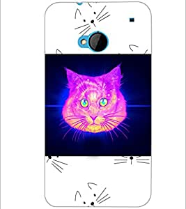 PrintDhaba Cat D-3465 Back Case Cover for HTC ONE M7 (Multi-Coloured)