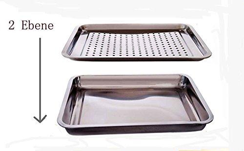 Obstschale Edelstahl Grillpfanne Tropfschalen Grill // Mehrfach verwendbar--2 Ebenen 26.5*19.5*4.5CM (1 Stck)