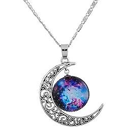 Collar Media Luna con el Cosmos en su Interior de Plata