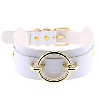 Everyday Fashion Gothic breites O-Ring Halsband Choker Halskette Damen Schmuck, weiß, Einheitsgröße