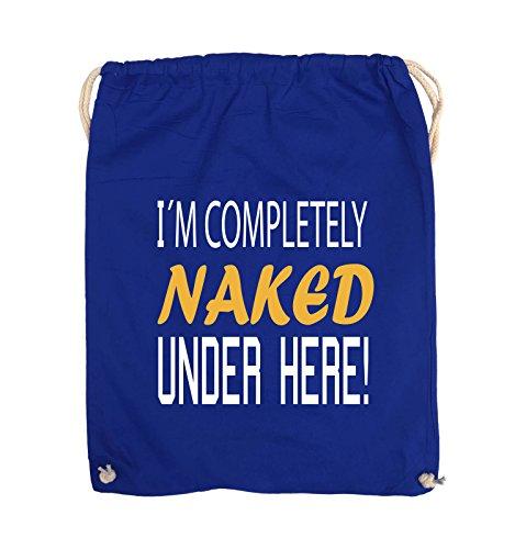 Comedy Bags - I'm completely naked under here! - Turnbeutel - 37x46cm - Farbe: Schwarz / Weiss-Neongrün Royalblau / Weiss-Gelb
