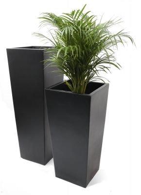 Tall Flared Square Fibreglass Planter - Matt Black - H60