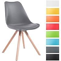CLP Sedia dal design vintage TOULOUSE con gambe rotonde in legno color naturale, schienale in plastica, seduta in similpelle e imbottita. grigio