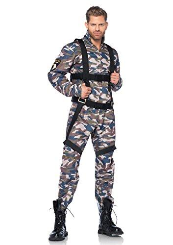 Leg Avenue 85279 - 2Tl. Kostüm Set Fallschirmjäger, Größe M, camo, Männer Karneval - Männer Army Halloween