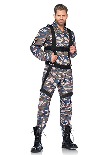 Leg Avenue 85279 - 2Tl. Kostüm Set Fallschirmjäger, Größe M, camo, Männer Karneval Fasching
