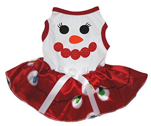 Petitebelle Dog Dress Xmas Snowman Face White Cotton Shirt illumination Red Tutu (Medium) (Schneemann Kostüm Tutu)