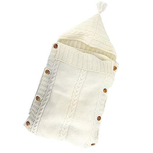 Neugeborenes Baby Gestrickt Wickeln Swaddle Decke Schlafsack Babydecke Pucktücher für 0-12 Monate Jungen oder Mädchen (Weiß)