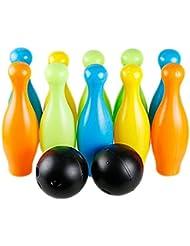 Petit coloré pour enfant en plastique de boule de bowling, 2balles et 10broches