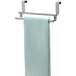 InterDesign Forma porte-serviettes sans perçage, double support serviette en acier inoxydable, argenté
